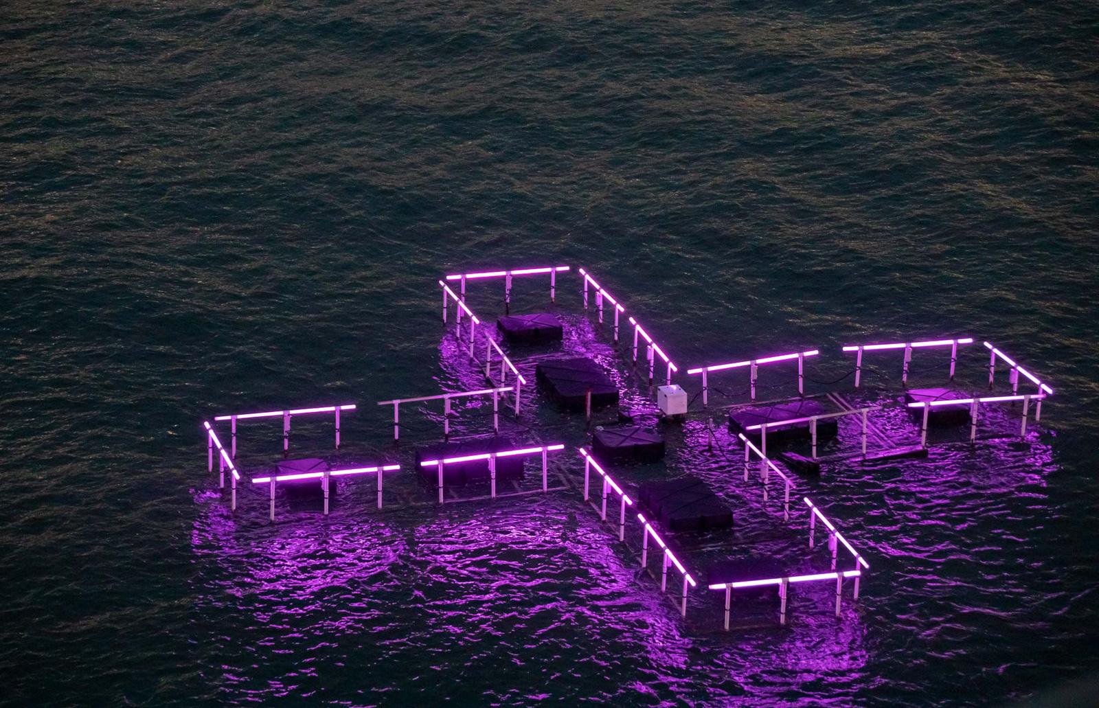 Floating LED sculpture on Manhattan's East River