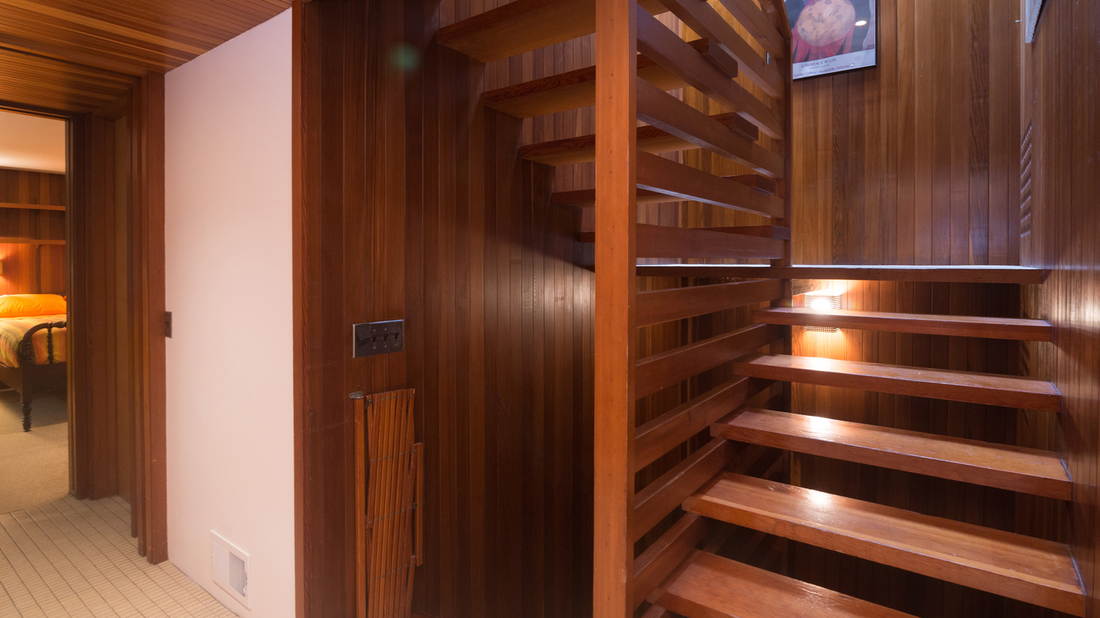 The Tivadar and Dorothy Balogh House staircase is made from red cedar