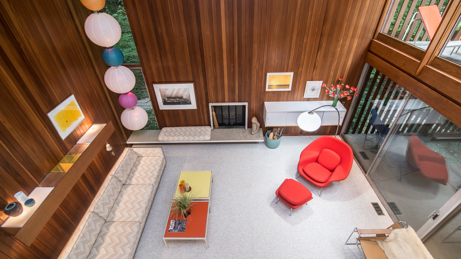 The Tivadar and Dorothy Balogh House - a view from the mezzanine of the double-height living room