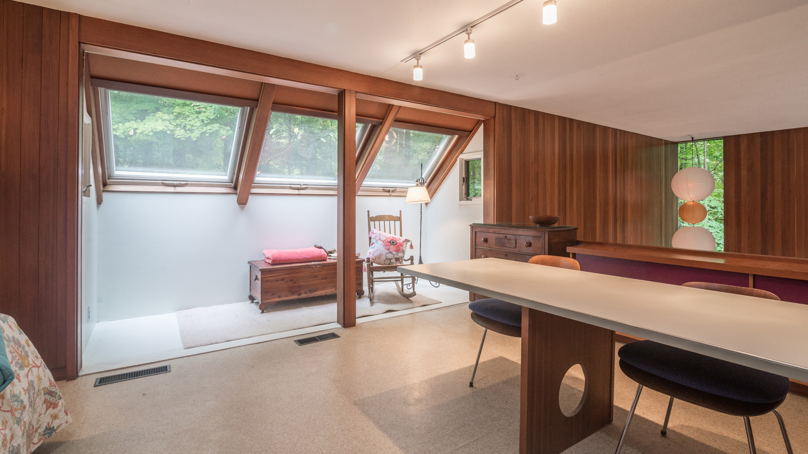 Bedrooms at The Tivadar and Dorothy Balogh House have original custom built midcentury cabinetry