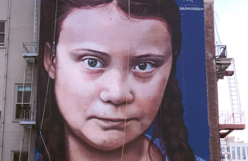 A 60-ft-high Greta Thunberg mural pops up in San Francisco