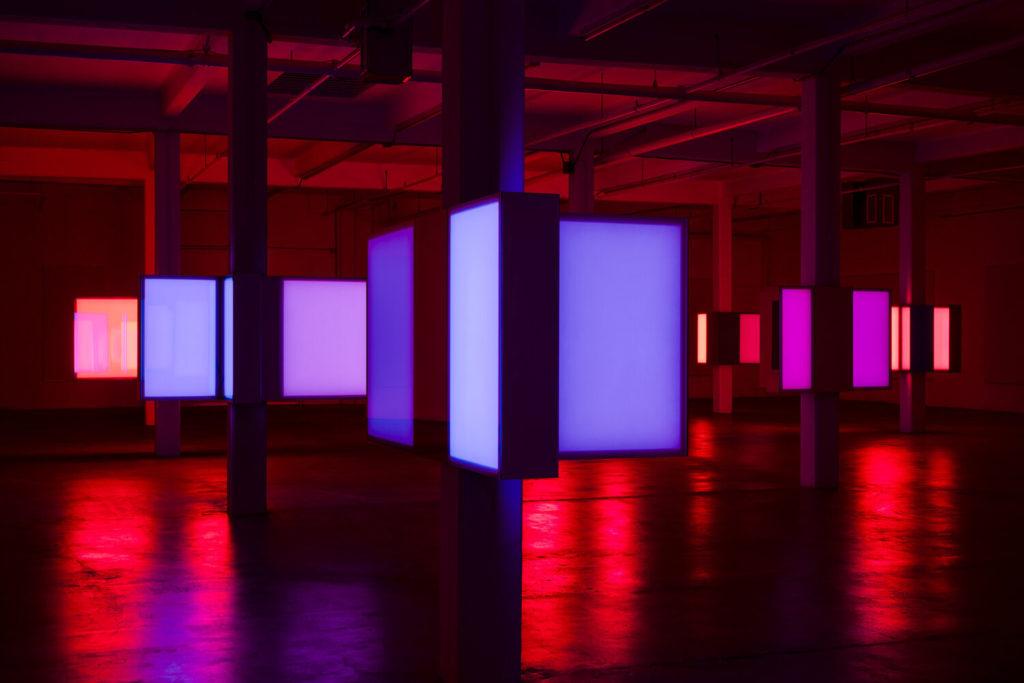 Phillip K Smith Iii S 10 Columns Installation Is A Neon Sci