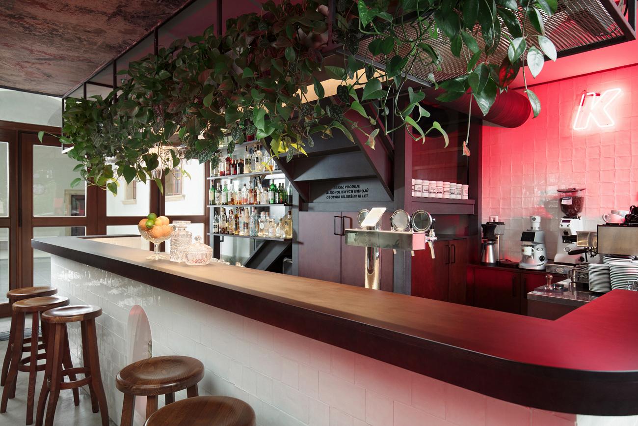 Konvikt coffee shop blurs neon kitsch with baroque design