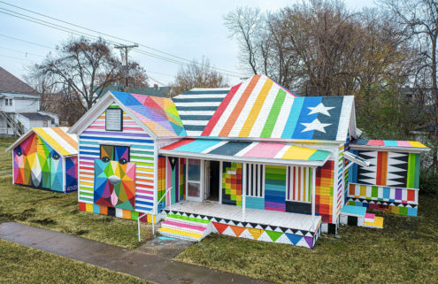 Artist Okuda San Miguel gives an Arkansas house a technicolour paint job