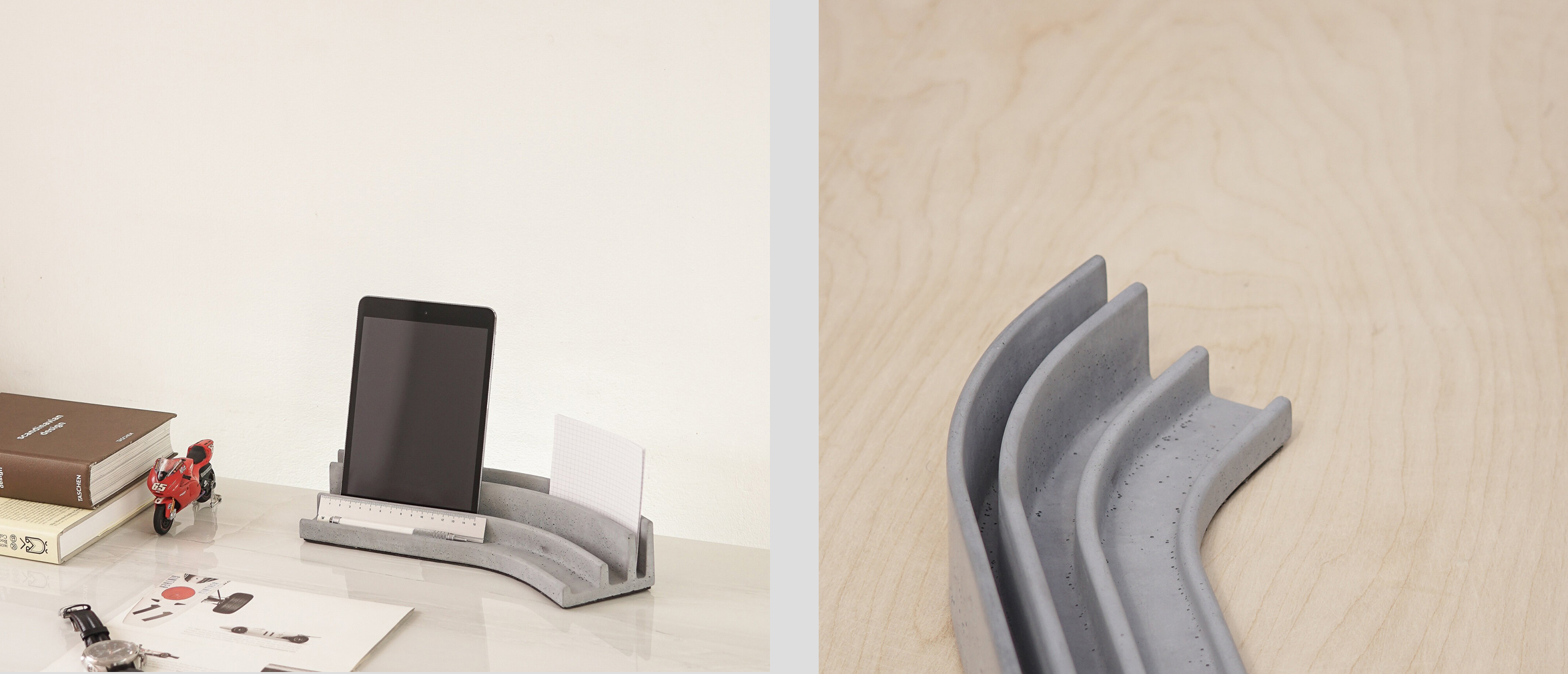 Brutalist desk accessories by Studio Saif Faisal