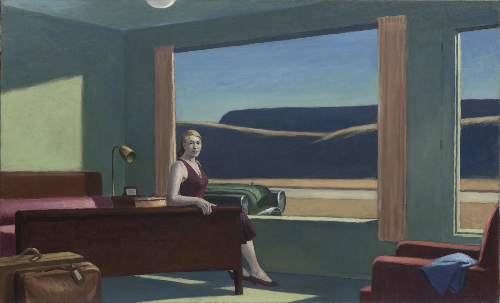 Edward Hopper's 1957 oil on canvas Western Motel. Yale University Art Gallery