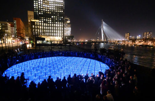 Glowing stones memorialise 104,000 Dutch Holocaust victims in Rotterdam