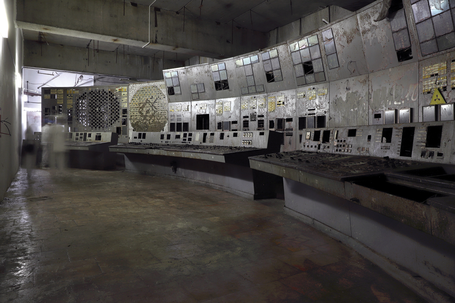 Control Room 4, the room where the 1986 disaster originated. Now stripped of many of its fittings and cleaned of dust, it has been declared safe for visitors. Since autumn 2019, the power plant authorities have included it on official tours. © Darmon Richter / FUEL Publishing