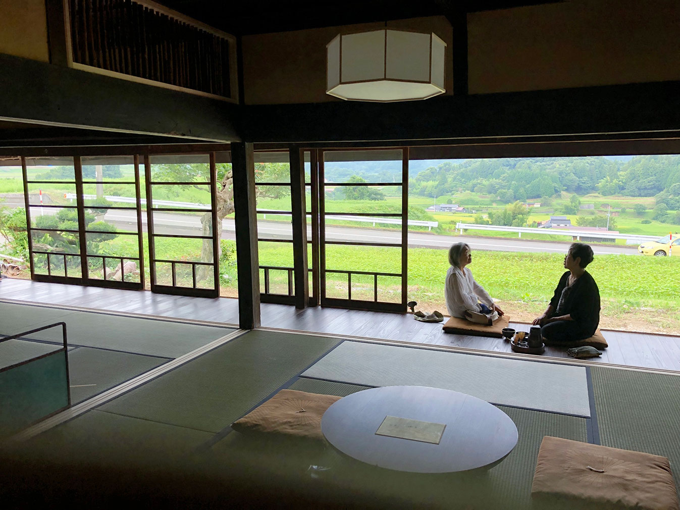 Chojaya is a 250-year-old thatched farmhouse with a traditional timber frame whose screen doors pull back to reveal lush views of the Hibayama mountains