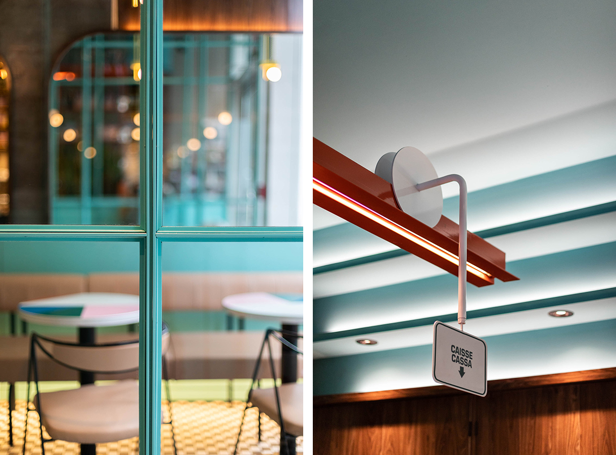Interiors of Montreal's Caffettiera Caffé Bar are inspired by the 1990s
