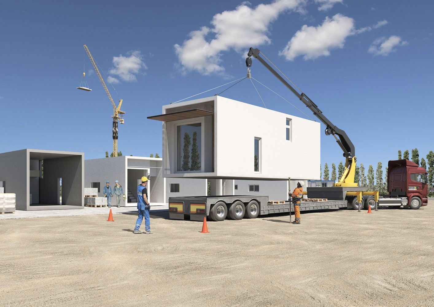 The concrete prefab can be constructed without foundations, meaning the 45 sq m building can be tranported by lorry and remounted as necessary.