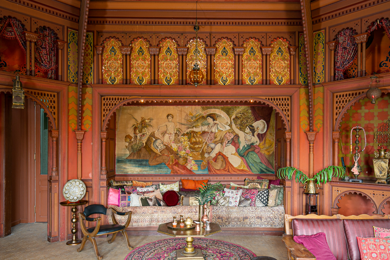 The historic Andrew McNally House features a Turkish Smoking Room with ornate gilding and friezes. The room appeared in the TV Show Entourage