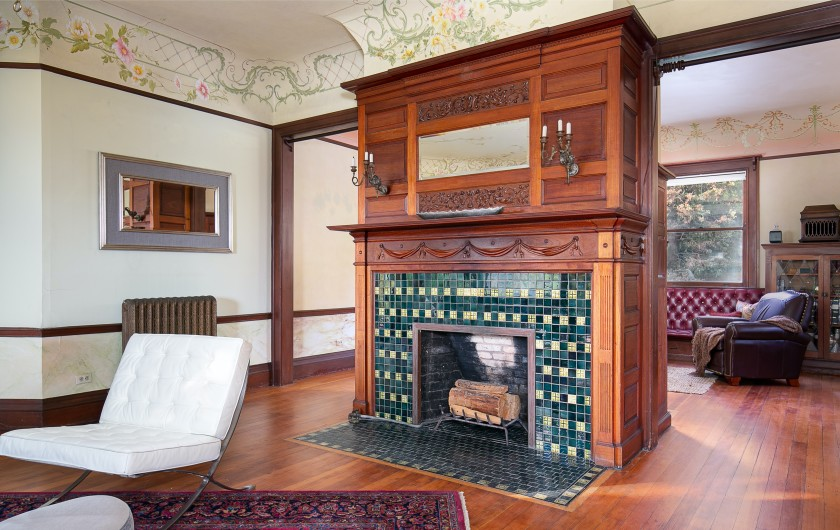 The historic Andrew McNally House has several mahogany panelled, tiled fireplaces